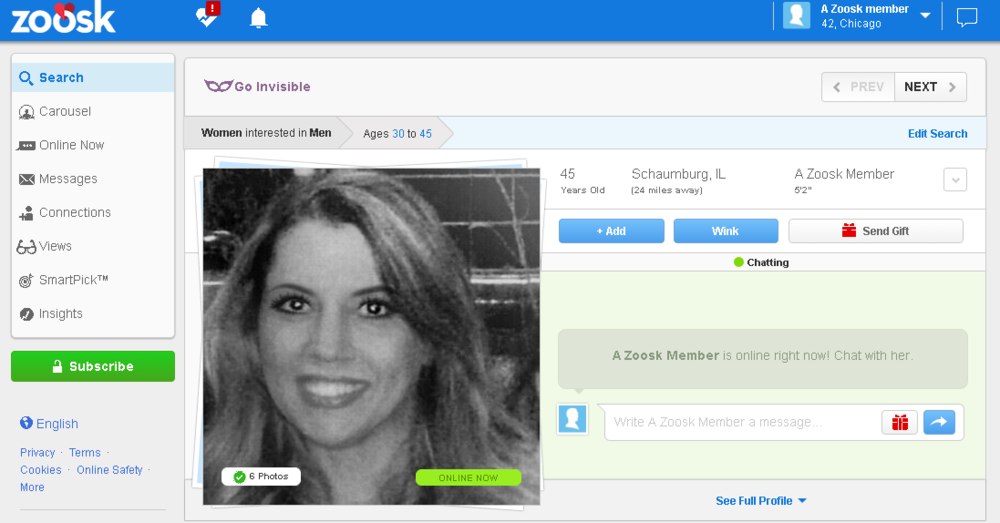 Online dating zoosk